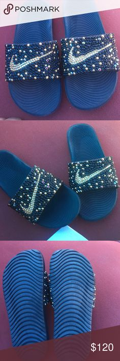 39d1083770c0 Nike Slides Bling Bling Only worn once had the bling out but they are too  small Nike Shoes Slippers