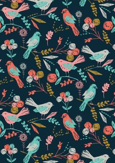 Painted birds and flowers phone wallpaper girly flowers birds iphone pretty artistic phone other pattern wallpaper painted