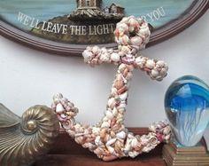Items similar to Pallet Art Natural Shell Anchor Wall Hanging - Rustic Shabby Chic Sharksteeth Nautical Seashore on Etsy