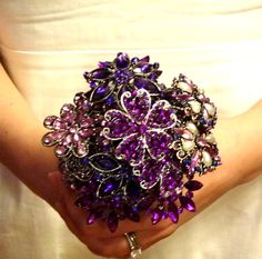 Purple Brooch Bouquet ~ monochromatic shades of Purple (or any other color of your choice) Purple Wedding, Wedding Colors, Wedding Flowers, Dream Wedding, Wedding Things, Wedding Stuff, Purple Brooch Bouquet, Wedding Brooch Bouquets, Wedding Images