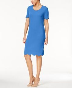 NY Collection Textured Scalloped Dress