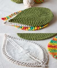 Nice change from the square washcloth - apparently an easy knit. Leafy Washcloth. Downloaded pattern would make nice baby gifts.