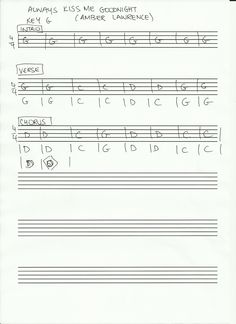 rough chart for 'Always Kiss Me Goodnight' from the album 'When It All Comes Down'