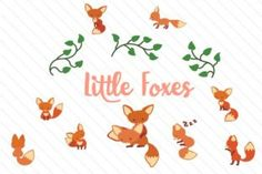 Cute Little Foxes Graphics Set - Creative Fabrica