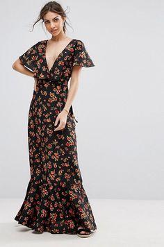 Asos - Boohoo Plunge Neck Floral Maxi Dress