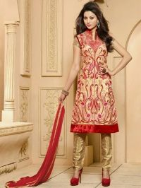 Buy Classic Red and Gold Heavy Embroidered Pure Georgette Suit