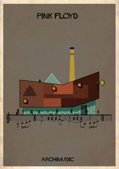 Classic songs illustrated as buildings – Wish You Were Here by Pink Floyd.