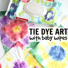 Our Easy Tie Dye Art with Baby Wipes is a fun way to explore tie dye without the worry of permanently stains! Huggies Wipes from Walmart work great!