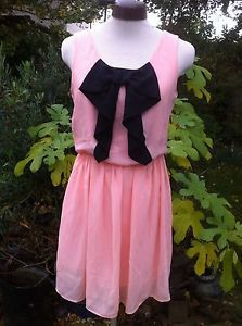 Floaty Peach Chiffon Sleeveless Mini Dress With Bow Detail Fully Lined Size 8 | eBay