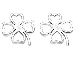 BOHG Jewelry Womens 925 Sterling Silver Plated Cute Four Leaf Clovers Hollow Ear Stud Dangle Earrings *** New and awesome super discounts awaits you, Read it now  : Women's Fashion for FREE
