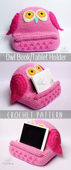 Crochet Owl Book Tablet Holder PATTERN PDF. Great crochet gift idea for kids and adults alike that you can make yourself for any occasion. Different versions available. This crochet book/tablet holder is not only a fun toy but also a very useful learning tool.That's because the mind is able to process in a more natural manner of looking forward rather than looking downward.