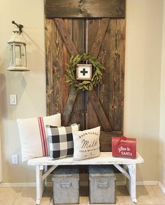 farmhouse barn door + bench