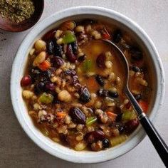 Slow-Cooker Southwestern Bean Soup Recipe - EatingWell Leave our barley, add shredded chicken Slow Cooker Soup, Slow Cooker Chicken, Slow Cooker Recipes, Crockpot Recipes, Cooking Recipes, Barbecue Recipes, Oven Recipes, Slow Cooking, Easy Cooking