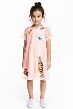 Mesh dress with appliqués - Light pink - Kids | H&M