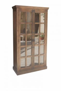 WOODEN 2 DOOR ALMIRAH WITH GLASS