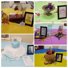 Disney Princess party each table decorated for a different princess  Belle (beauty and the Beast), Cinderella, Ariel (the little mermaid), Jasmine (Aladdin), Snow White Party table center pieces