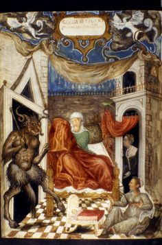 """Bodleian, MS. Barocci 170 f. 025v. Leo the Wise; Francesco Barozzi (translator). Oracula. Venice, 1577. """"Title: 'FIGVRA 22. Fatus scolestus'. The Birth of the Antichrist. Woman seated on bed in centre of the composition, newborn baby in a cradle on..."""