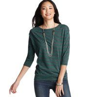 Striped Hook and Eye Back Tee - An adorable row of hook-and-eye closures at the back gives this drapey striped tee a little extra flair. Boatneck. 3/4 dolman sleeves. Drop shoulders. Hook-and-eye placket at back. Banded hem.