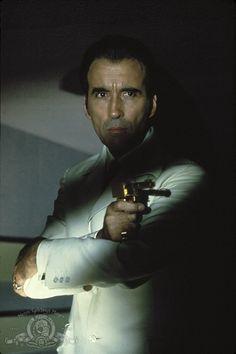 Christopher Lee as legendary Bond-villain Francisco Scaramanga in The Man with the Golden Gun (1974)