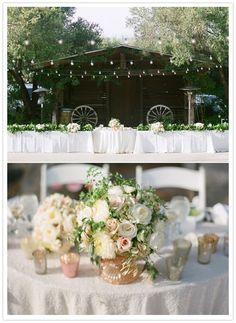 San Diego Vineyard wedding-- lights and white flowers