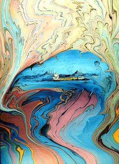 Watercolor İstanbul painting on ebru, Artist: Hamiyet Bozkurt © Ebru Art, Turkish Art, Marble Art, Pour Painting, Watercolor Art, Modern Art, Cool Art, Art Drawings, Abstract Art