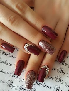 12 Stunning Red Dark Nail Art Designs Ideas for 2019 : Have a look! check out these 12 Stunning Red Dark Nail Art designs Ideas. All the red lovers can try any of these to make a statement. Fall Nail Art Designs, Red Nail Designs, Nail Polish Designs, Nails Design, Classy Nails, Cute Nails, Pretty Nails, Christmas Nail Art, Holiday Nails