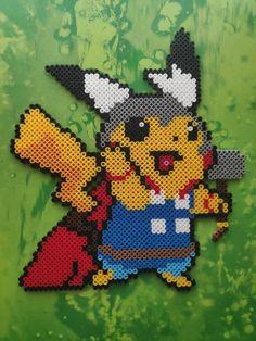 Pikachu Thor Hama Beads Keychain/Bookmark/Magnet/Wall Decor Pixel Beads, Pulp Fiction, Bead Patterns, Bead Art, Perler Beads, Thor, Bowser, Pikachu, Cross Stitch