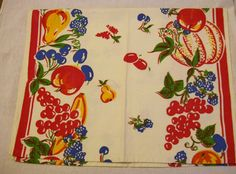 Vintage Tea Towel 1950's  Red And White With by VintagePlusCrafts, $6.00