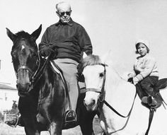 Joseph P. Kennedy, patriarch of the Kennedy clan, takes his granddaughter Caroline horseback riding in Hyannis Port, Mass. as her father wound up his successful campaign for the presidency. Joe Kennedy Sr, Caroline Kennedy, Los Kennedy, Hyannis Port, John Junior, John Fitzgerald, Jfk, Horseback Riding, Presidents