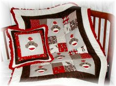 Sock Monkey Quilt and Pillow Set by tassiesdesigns on Etsy