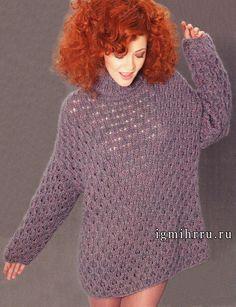 Ажурный свитер свободного силуэта, из мериносовой шерсти и мохера, от Lana Grossa. Спицы