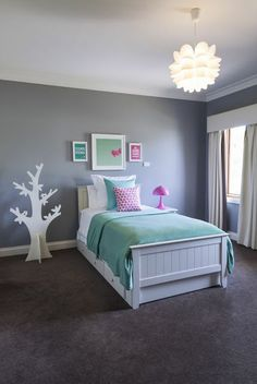 Girl's bedroom - mint + white + pink + grey. Since we dont wanna know the sex of our first child we are going with grey so we can add either pink or blue when we have the baby. This would be good for when they grow