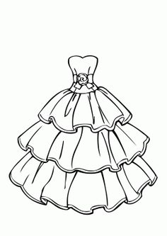 wedding dress beautiful coloring page for girls printable free - Colouring Pages Girl