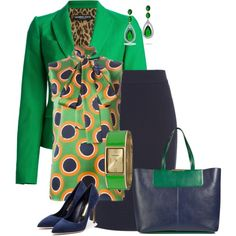 Green/Navy Office by alpate on Polyvore featuring Dsquared2, Dolce&Gabbana, Armani Collezioni, Rupert Sanderson, Emilio Pucci, Vernier and Bling Jewelry