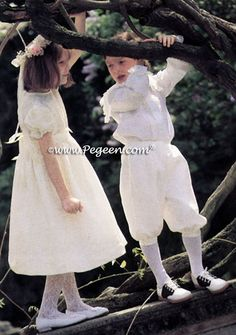 Silk Flower Girl Dress with Butterflies and Matching 3pc Boy's Knicker Suit by Pegeen Classics