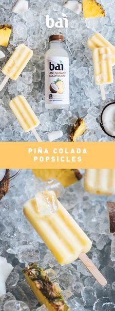 Boozy Pina Colada Eis am Stiel Rezept Shop Kokosnussschalen bei BuddhaBowls. Köstliche Desserts, Frozen Desserts, Delicious Desserts, Dessert Recipes, Yummy Food, Pina Colada Popsicle Recipe, Snacking, Sorbets, Popsicle Recipes