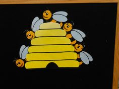 Another flannel board...  Here is the beehive, but where are the  bees?  Hiding away where nobody sees.  Look!  They're coming out!  1, 2, 3, 4, 5...BZZZZZZ.  Fly away!  (Children can make a fist, thumb tucked inside for the beehive and then raise one finger for each number until all 5 fingers are up.  Flutter fingers and hide them behind back.
