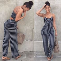 Blue Bodycon Backless Stripe Jumpsuits Women Sexy Party Clubwear Jumpsuits Casual Bowtie Overalls Jumpsuit Plus Size What do you think is the coolest Women Jumpsuits. Classy Outfits, Chic Outfits, Spring Outfits, Vintage Outfits, Fashion Outfits, Trendy Fashion, Travel Outfits, Women's Fashion, Denim Fashion