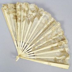 Antique 19th Century Victorian French Carved Bone Tulle Gilded Lace Ladies Hand Fan