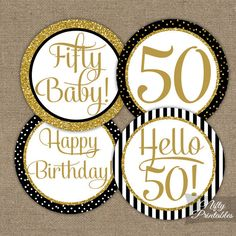 Black & #Gold #Glitter #50th Birthday %Cupcake %Toppers - Fiftieth #Party Printables - DIY 50th Bday #Favor Tags or #Fifty Stickers - BGL