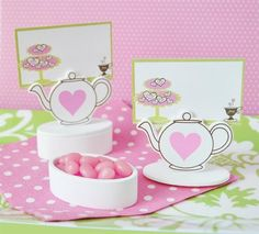 Teapot Wedding Place Card Holder & Favor Box Set includes 12 place card favor boxes.  Each white wooden box features a cutout of a teapot, which acts as a place card holder. The designer place cards match the theme.