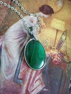 Malachite necklace,Malachite Jewelry, Green Necklace, Boho Necklace, old silver tin, healing jewelry, statement necklace, Bustani by BUSTANI on Etsy