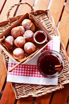 aebleskiver  (danish pancakes, fluffy balls served or filled with berry jam) with glogg (mulled wine)