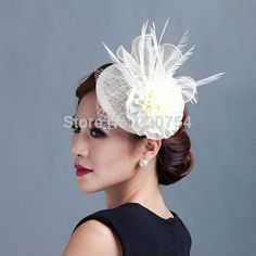 2015 women ivory flowers Fascinator with feather ladies sinamay hat hair wedding and party fascinators