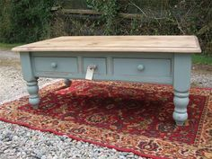Chunky Solid Pine Coffee Table : £165, painted in Annie Sloan Chalk Pain colour Duck Egg Blue. Measurements: W 125cm, D 71cm, H 48cm. With 3 useful drawers.