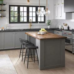 Farmhouse Kitchen Cabinets, Modern Farmhouse Kitchens, Kitchen Cabinet Design, Kitchen Interior, New Kitchen, Home Kitchens, Interior Modern, Modern Grey Kitchen, Kitchen Ideas With Grey Cabinets