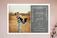 Chalkboard Save the Date Cards by SimpleTe Design at minted.com? I'm really a fan of the picture :)