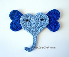 Ravelry: Heart Shaped Animals - Elephant Applique pattern by GoldenLucyCrafts