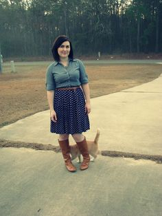 button down with polka dot skirt and cognac belt and boots. Beautiful outfit!