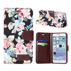 Veewon Flower Floral Style PU Leather Magnetic Folio Flip Case Cover Wallet with Card Holder for iPhone 6 Plus 5.5 inch Cases (Black) Veewon